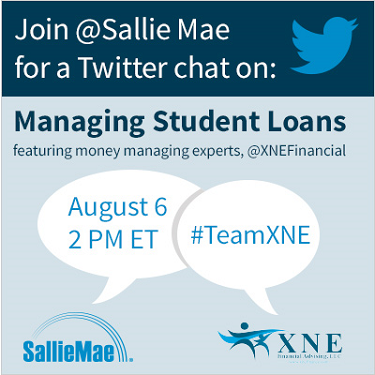 Financial advisers @XNEFinancial & @SallieMae are hosting a Twitter chat on Aug. 6 @2pm ET.  See you there! #TeamXNE http://t.co/xdhtlhCPDu