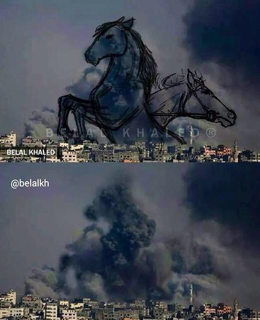 Life after the bomb... #Gaza with art. #GazaUnderAttack  #PrayForGaza http://t.co/L12nmoMTML
