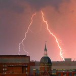 Lightning strikes around the dome of Hopkins during Wednesday nights storm. (Karl Merton Ferron/@baltimoresun photo) http://t.co/vc3tDCNr1p