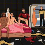 Coisa bastante normal no século 24. (via @wilw) RT @Jimllpaintit: Awkward Star Trek orgy - as requested by Sam Wise https://t.co/oO29UamfXw