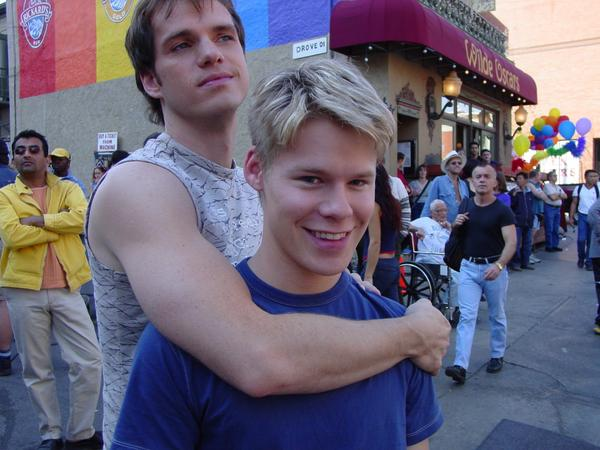 #tbt Two photos of happy boys taken by yours truly during the Pride episode, season 2 of #QAF! http://t.co/ZPt7Y4tFAv