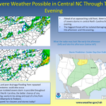 There is a slight risk of severe storms in central NC through this evening. Be prepared for the weather today! http://t.co/8SyVIf9n2o