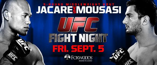 "RT @ufc: #UFCFightNight: Jacare vs Mousasi | Sept. 5 @FoxwoodsCT | Use code ""UFCSOCIAL"" at checkout: http://t.co/8e1wh57eVY http://t.co/SoG…"