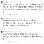 UNRWA Spokesman @ChrisGunness confirms multiple dead and injured at designated UNRWA shelter in Beit Hanoun. #Gaza http://t.co/228wn14XYW