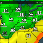 "Cool in the 50s and 60s tonight! Back to 90s this weekend with storm chances - ""hot and cool"" pattern! @WHAS11 now! http://t.co/YUmTVlj96W"