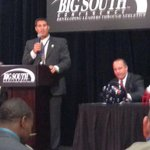 @CoachChadwell address the crowd at @BigSouthSports Football Media Day. Bucs are picked third in preseason poll. http://t.co/iI4UgG0ZbS
