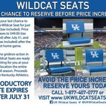 RT @UKTix: .@UKFootball season ticket holders be sure to get your @UKWildcatSeats before the July 31st at the best price! http://t.co/88Yp0YzgEA