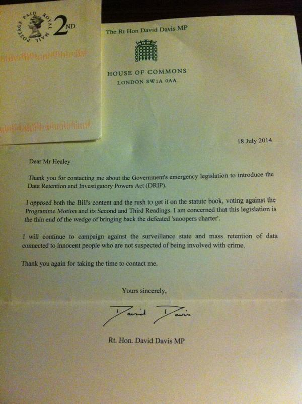 .@doctorow received this from my MP, he's not happy about #DRIP either! http://t.co/qWcZASLZvh