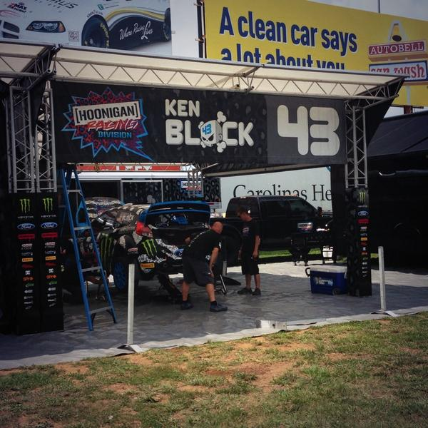 .@kblock43's team prepping the car for this weekend's @RedBullGRC event. It all starts tomorrow! Be here! #cltgrc http://t.co/vCDfXTYkpJ