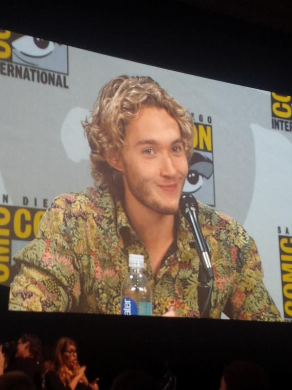 Rawr @toby_regbo talking about wardrobe, or lack there of on @CWReign @reignwriters #reign #sdcc we don't mind at all http://t.co/doh5wlNveS
