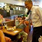 President Obama greets an enthusiastic customer at Canters delicatessen in LA today http://t.co/OWlQTw1Js6