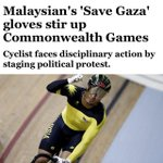 "RT @akmalvABU: Azizul Hasnis ""SAVE GAZA"" racing glove is never political. Its HUMANITY! #PrayForGaza #FreePalestine http://t.co/W29G0B28oF"