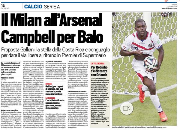 BtX1HMMCMAAtcMG AC Milan will sell Mario Balotelli to Arsenal for €10m plus Joel Campbell [Tuttosport]