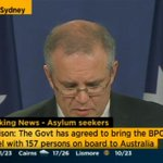 Morrison begrudgingly announcing 157 asylum seekers being brought to Australia. #auspol http://t.co/GlOf4zUsMc