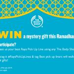 WIN prizes from The Body Shop this Ramadhan! Tweet us your best #RayaPickUpLines Lets see how creative you can get http://t.co/haDncB8KqG