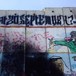 "RT @millerC4: #c4news A mural on the Israeli wall at Qalandia refugee camp. ""With love from Palestine"" - not must love lost here http://t.co/rGDuI7JIZR"