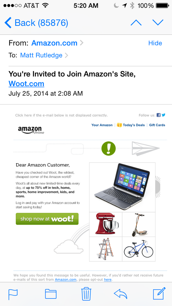 Amazon, I know you're having a bad day, but asking me to join Woot is too much. Thanks anyways. http://t.co/DKxa0MGdrc
