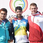 Bindra, Baki, Rivers during the medal ceremony after mens 10m air rifle event. (PTI Photo) http://t.co/vVEnS9hHlj http://t.co/SDNFKEPVG4
