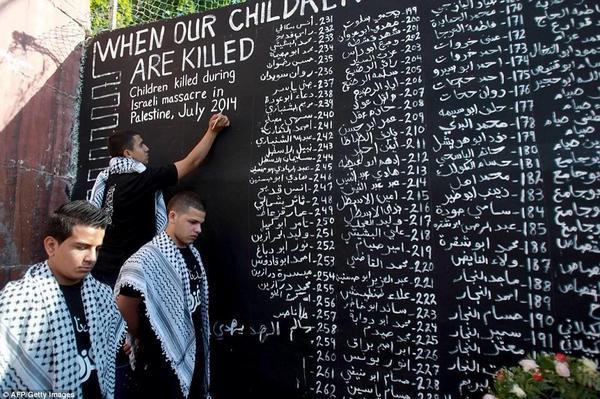 أخبار الصحف السعودية (@SaudiNewspapers): لوحةتحمل أسماءالأطفال الشهداء الذين سقطوا بالقصف الصهيوني على #غزة تخليداً لذكراهم  بأي ذنب قتلووو ?  #غزة_تحت_القصف http://t.co/8C39RC7q7n