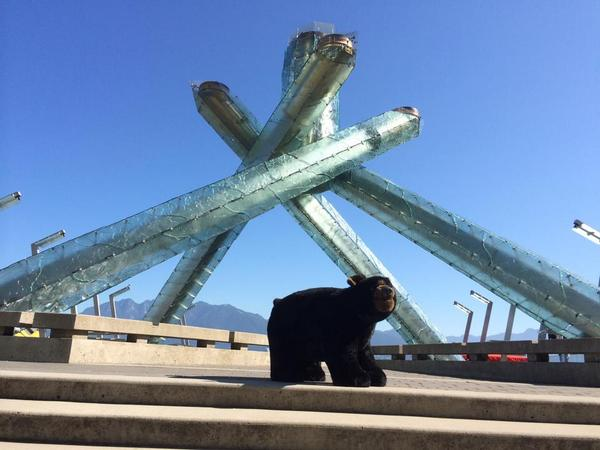 Spotted the @museumofvan escaped bear at the Olympic cauldron #wheresthebear? #vancouver http://t.co/qlxOrPMXs6