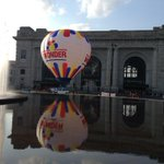 Hot air balloon in front of @UnionStationKC to promote Midwest Balloon Festival next weekend. #FirstFriday http://t.co/aaz0lI4fn4