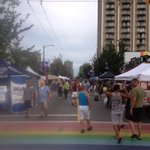Davie St is starting to fill for a big #vanpride2014 party. #vancouver http://t.co/S5UJPV6bF0