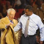 Andre Reed receives his gold jacket from Marv Levy. #billswatch #dandc #billsmafia http://t.co/0HuYmQeg0F