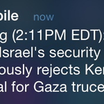 There you go. Israeli security cabinet unanimously rejects Kerrys plan for truce. http://t.co/ljfBCbqug0