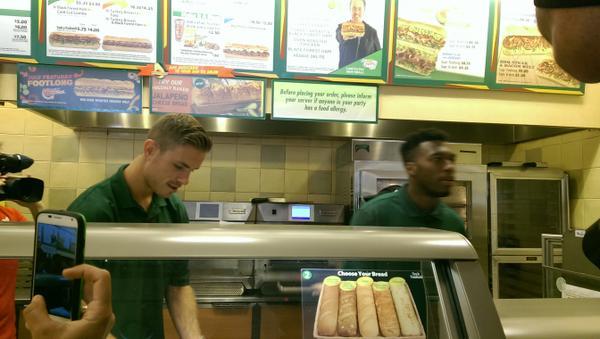 BtaO 9VIIAAv ju Liverpools Daniel Sturridge & Jordan Henderson make sandwiches at a Boston Subway [Pictures]