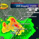 2:43pm Strong storm inGarden City headed to Surfside, Myrtle Beach. Lots of lightning, hvy rain, gusty winds #scwx http://t.co/uZZz70uLN9
