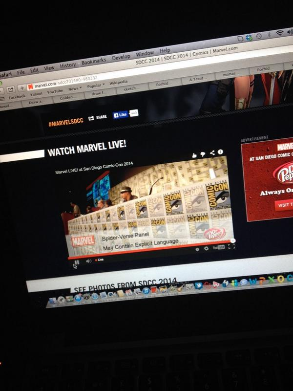 Spider verse live now ! @Marvel live stream !!! Amazing I'm loving it @DanSlott @humberto_ramos #yes #live http://t.co/5E87VcTQdZ