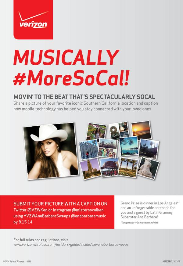 Enter #Verizon's Musically Spectacular Summer Contest to win a serenade by Ana Barbara! http://t.co/DakqbxCQuO http://t.co/vk2MAqCmBy