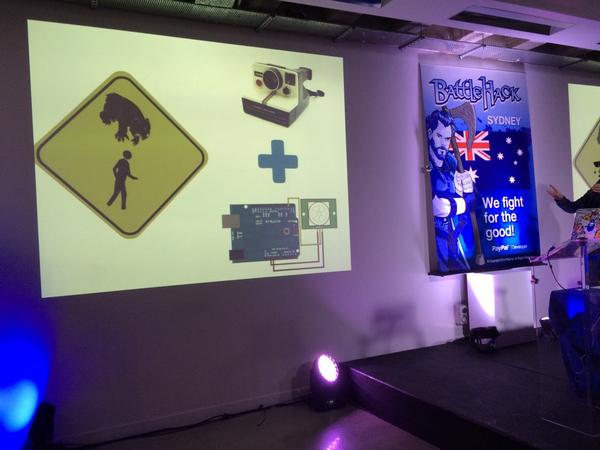.@jcleblanc came up with an awesome dropbear detection system based on a Polaroid camera and an Arduino #battlehack