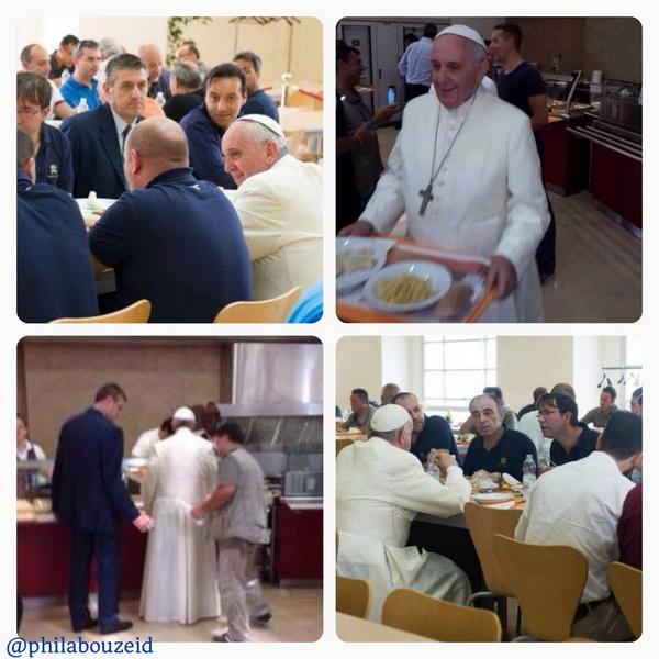 #Pope @Pontifex keeps surprising the world with his humble attitude: He is having lunch at the #Vatican Cafeteria