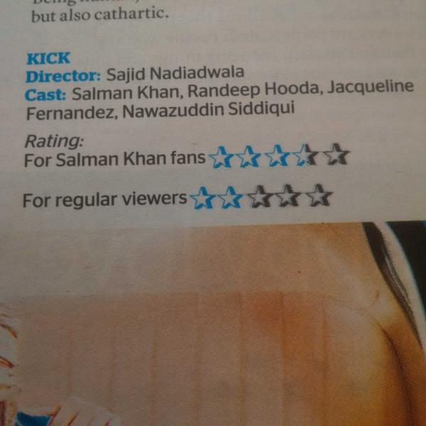 New way of rating a movie. For Salman fans and for regular viewers. Makes sense. 2 different ratings http://t.co/5yCC0U4cCO