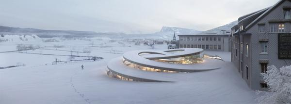 Spiralling structure by @BjarkeIngels for @AudemarsPiguet embeds & emerges from the landscape http://t.co/h75PEglaUi http://t.co/lpJ6JhKWjV