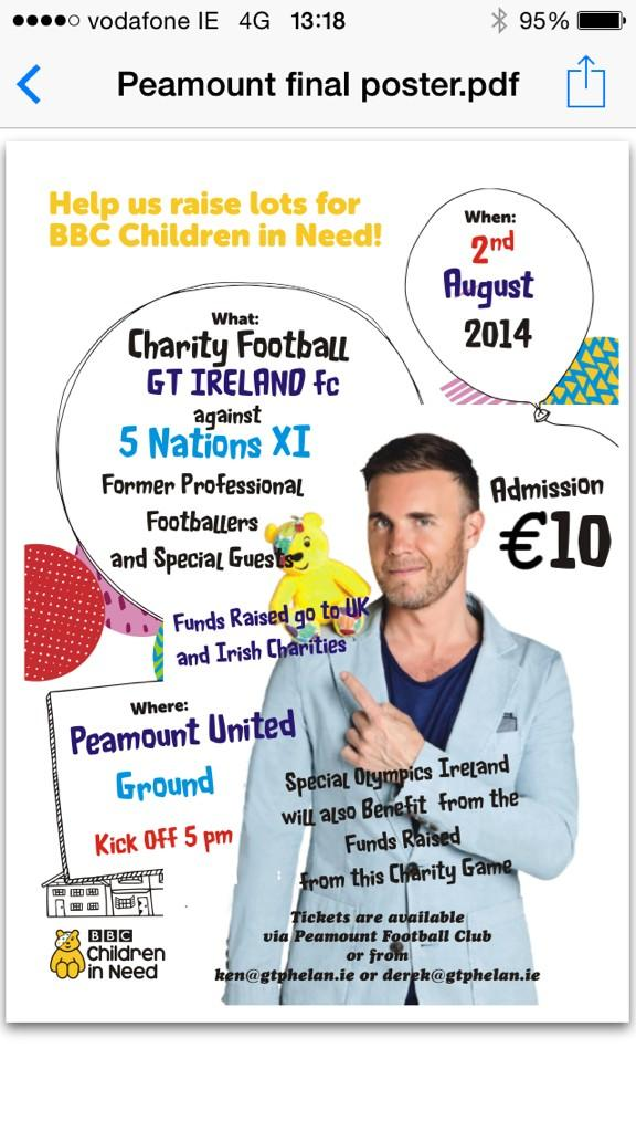 Charity celebrity football game next Saturday for Children in Need & Special Olympics Ireland. Tickets €10 Retweet x http://t.co/0nxqgHXliM
