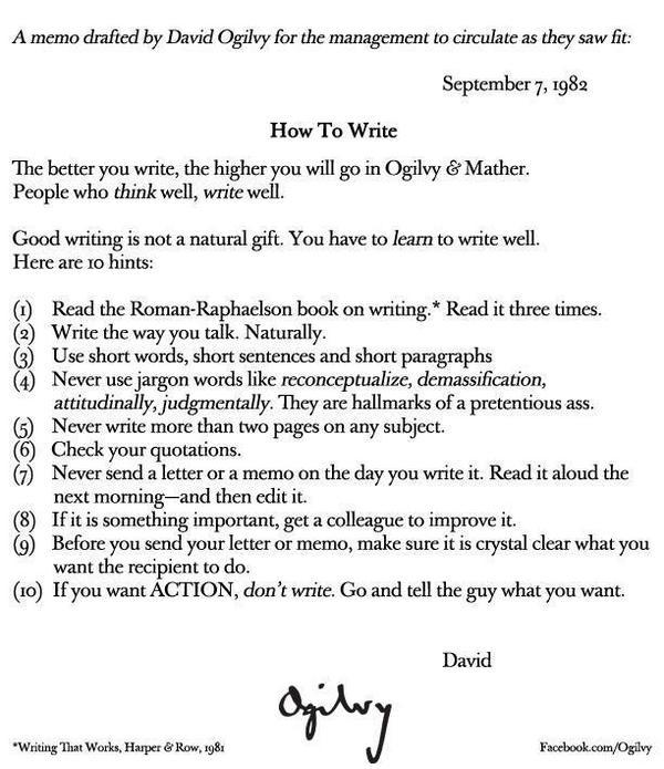 People who think well, write well.   How to write, by #DavidOgilvy  @Ogilvy http://t.co/QxsIJP1lYs