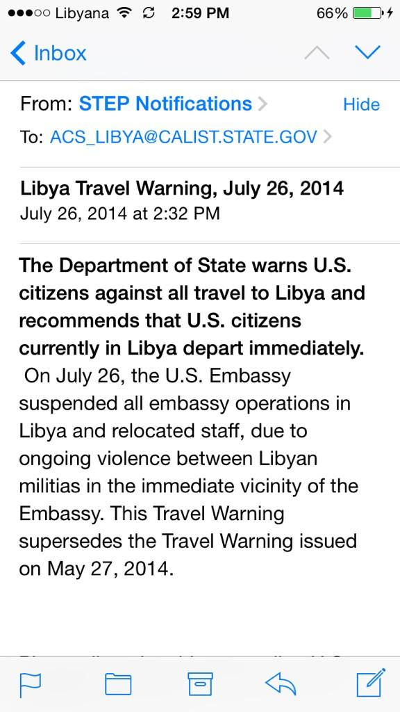 Email from the U.S Embassy of #Libya to citizens to immediately evacuate!! http://t.co/ggvWkhoFpL