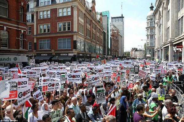 """@thisQueensPark: Today 50,000 people gathered outside the Israeli embassy in Kensington, London #GazaUnderAttack http://t.co/naUo7MUjUk"""