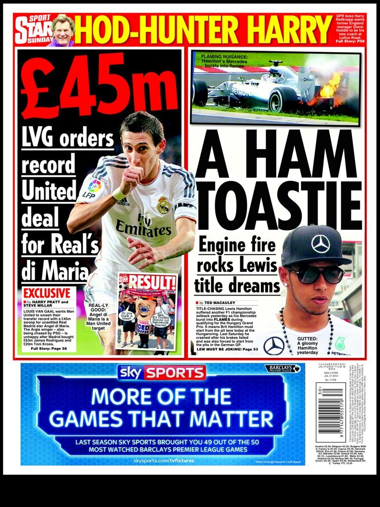 Manchester United set for £45m bid for Real Madrids Angel Di Maria [Sunday Star]