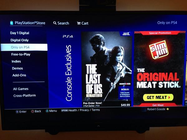 """Only on PS4."" A PS3 game and a meat stick. http://t.co/rMj8KBv5uB"