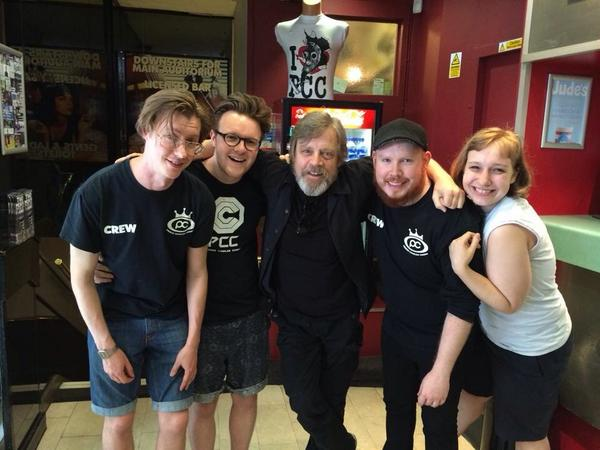 Mark Hamill came to see a film earlier today, and was kind enough to pose for a photo with our lovely staff. http://t.co/uJIRKR2iLV