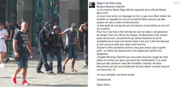Samedi, un journaliste se faisait lyncher à la #ManifGaza, avant d'être «sauvé» par deux jeunes. J'ai reçu ce message http://t.co/eB1zBwmvxE