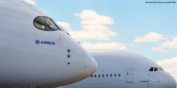 RT @Easyspotting: The big brother and the youngest Airbus family member (Farnborough Air Show 2014) http://t.co/Y0oKL3q4l0
