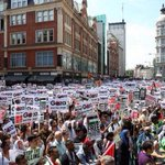 "Today London: 50,000 protesters outside Israel Embassy chanting ""International Crimnial Court for Israel!"" http://t.co/qFxlESTMo8"