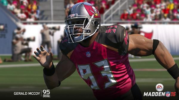 Gerald McCoy is the #3 rated defensive tackle in Madden NFL 15 with a 95 overall rating.