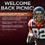 Join the @hokieclub on Sunday, Aug. 10 for the Welcome Back Picnic beginning at 5PM! #Hokies http://t.co/VogcMtSVlp