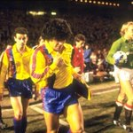 RT @barcastuff: Picture: Maradona leads out Barcelona against Man United in the European Cup Winners Cup 1984 http://t.co/4LOUQBEj5L [via @vintagefooty]