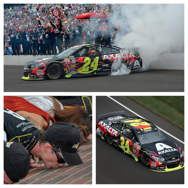 Who is into making history? @JeffGordonWeb, that's who. RT to send your congrats to Team 24. #Brickyard #NASCAR http://t.co/yBWBgzLFk6